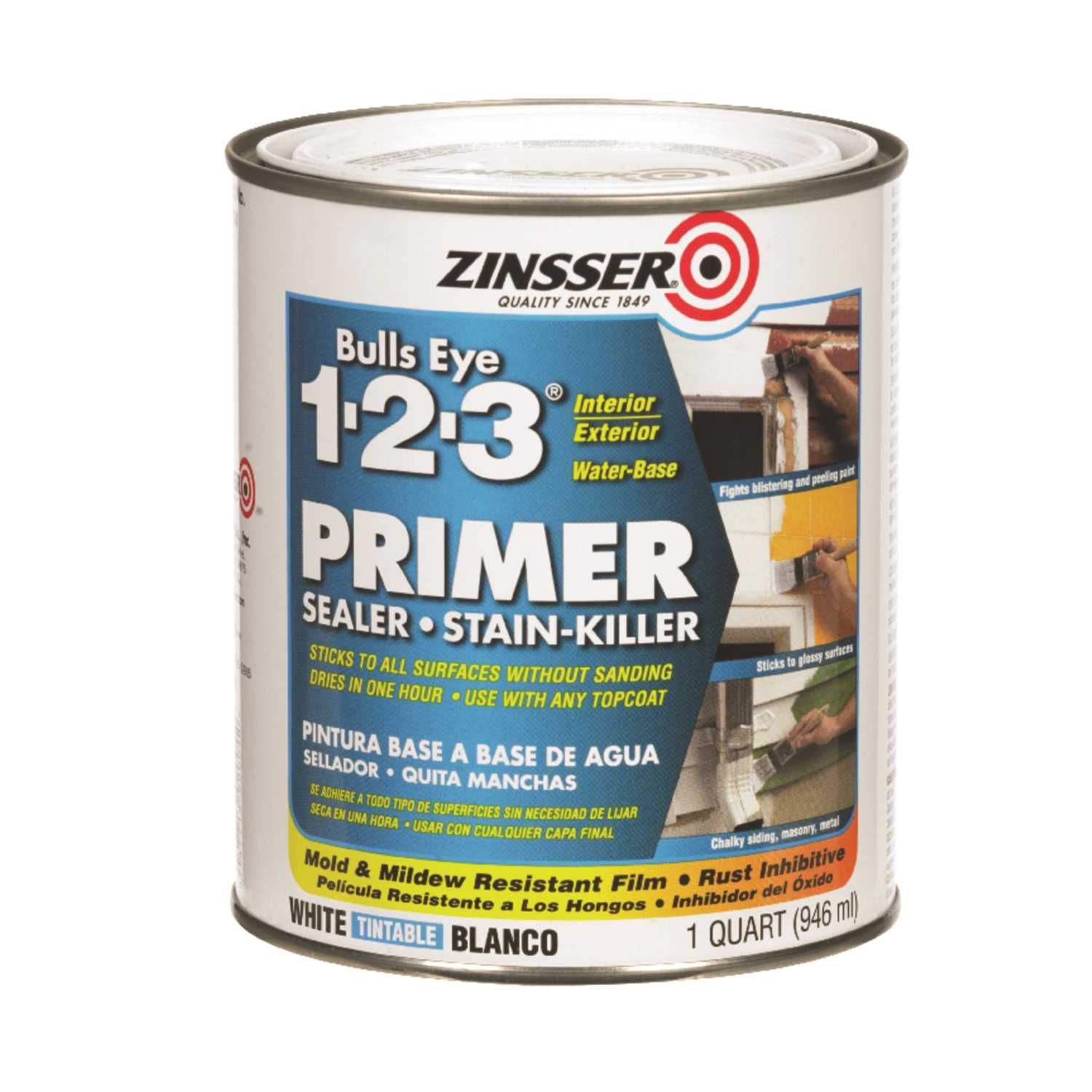 Zinsser Bulls Eye 123 White Water Based Styrenated Acrylic Primer And Sealer 1 Qt Exterior Primer Staining Wood Primer Sealer