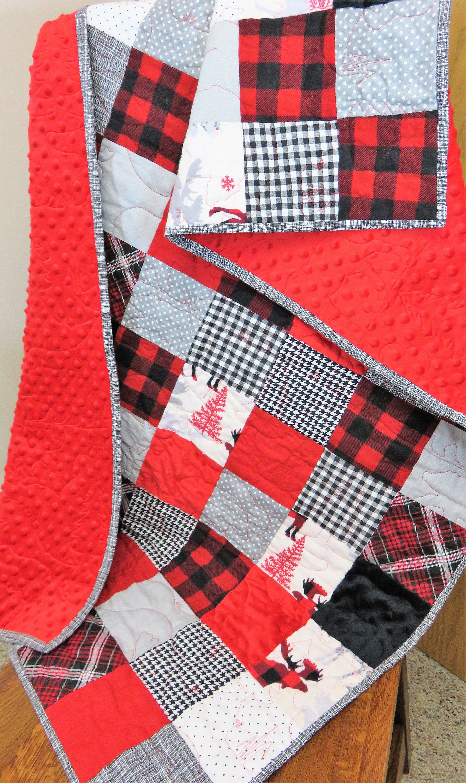 Handmade Quilt for Sale, Throw Quilt, Lap Quilt, Buffalo