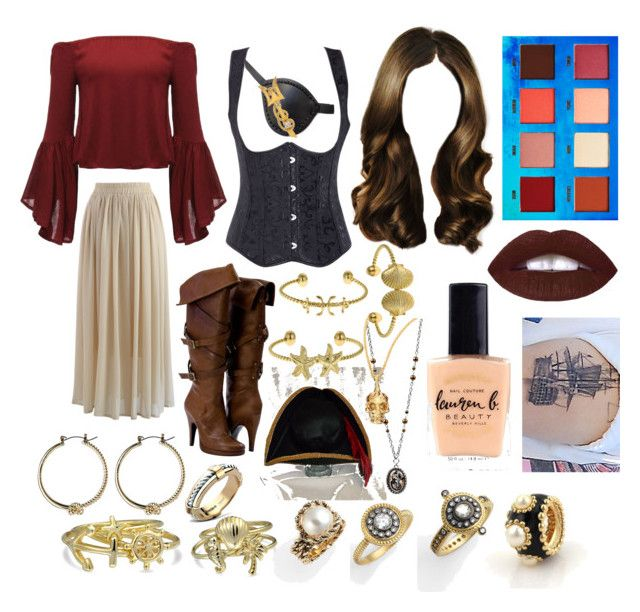 """""""Aye, Captain Glamour"""" by adele-h-pocketbook ❤ liked on Polyvore featuring Freida Rothman, Chicwish, Avenue, Bling Jewelry, Asprey, Chanel, Lime Crime, St. John, Fornash and Lauren B. Beauty"""