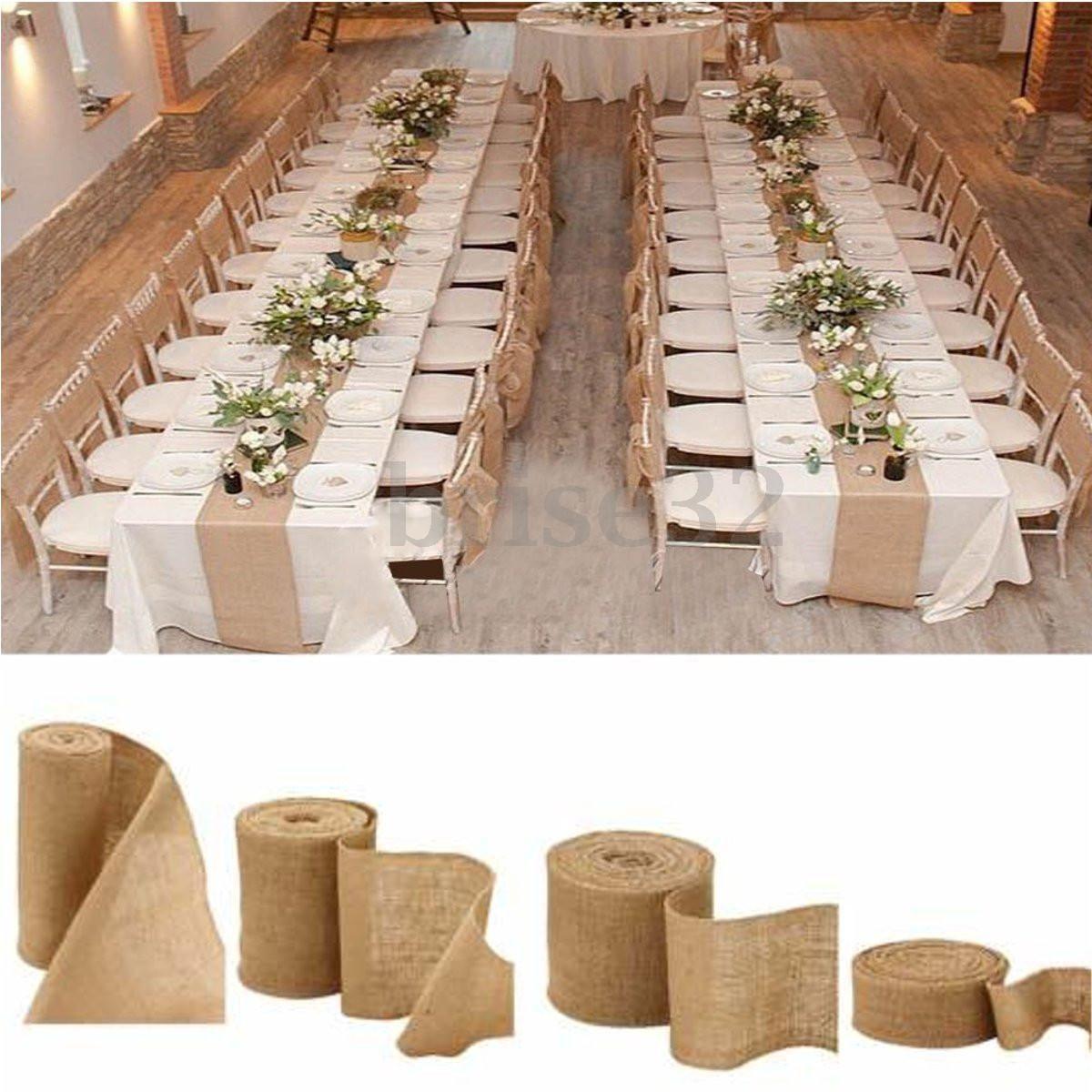 Rustic Wedding Decoration Ideas For Reception: 10M Vintage Table Runner Jute Burlap Hessian Ribbon