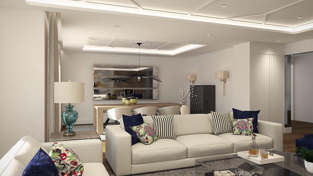 Salon comedor moderno en tonos blancos, techo con molduras de orac y