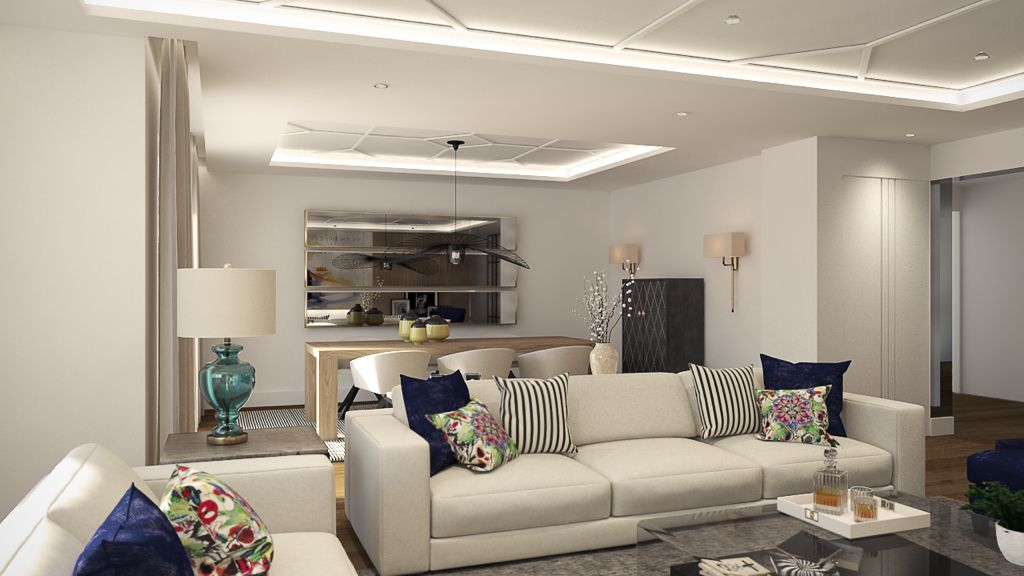 Salon comedor moderno en tonos blancos, techo con molduras de orac ...