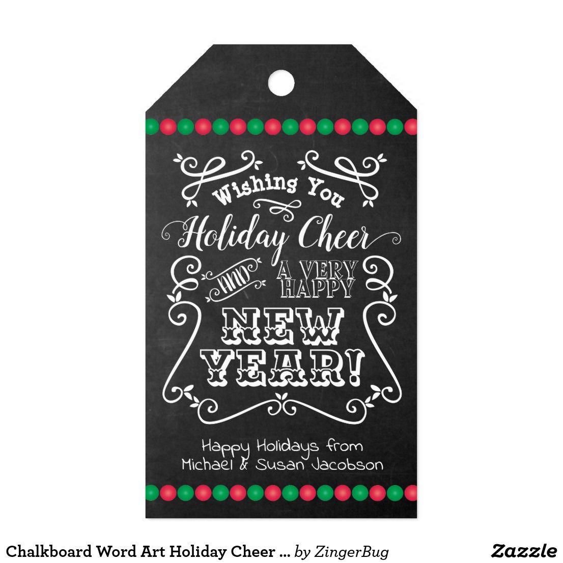Chalkboard Word Art Holiday Cheer Happy New Year Gift Tags