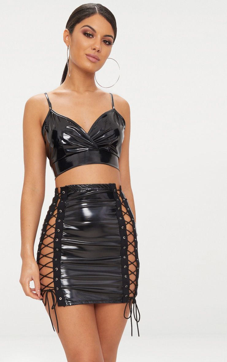 Sexy Hollow Out Mesh Patchwork Pu Leather Two Piece Set Zipper Deep V Crop Top Women's Clothing Short Dress Sexy Night Club Dancewear Outfits
