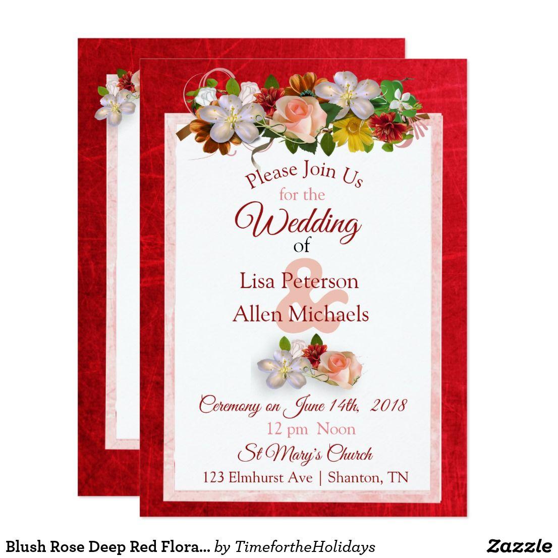 Blush Rose Deep Red Floral Wedding Invitation | Blushes