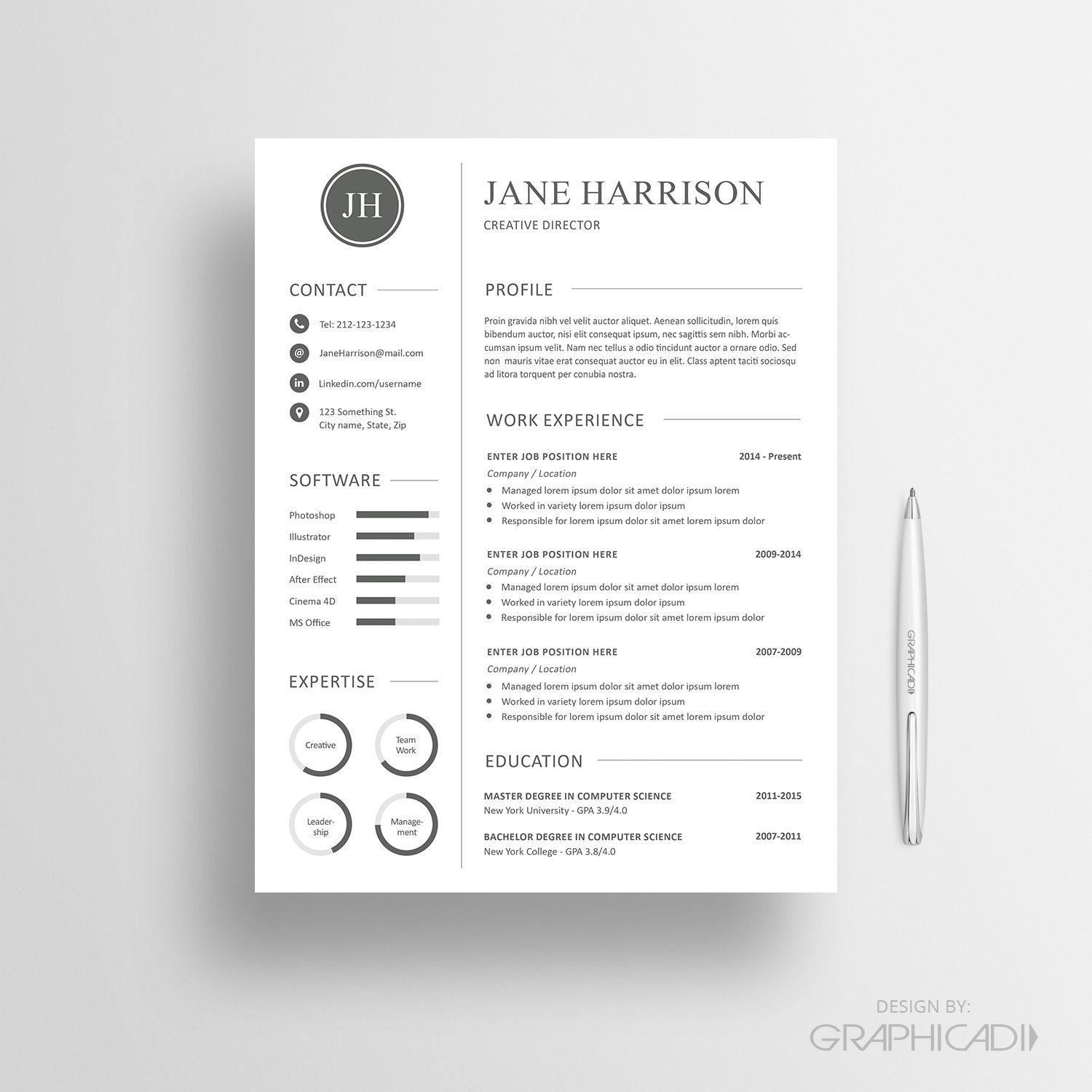 Resume Template 25 | CV | Pinterest