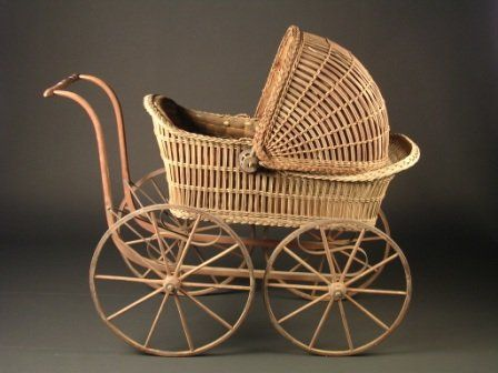 277: A VICTORIAN WICKER AND BENTWOOD PINE PRAM of tradi on ...