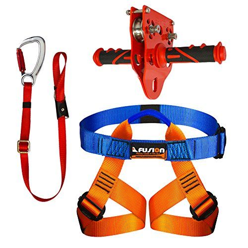 Fusion Climb Kids Backyard Zip Line Kit Harness Lanyard ...