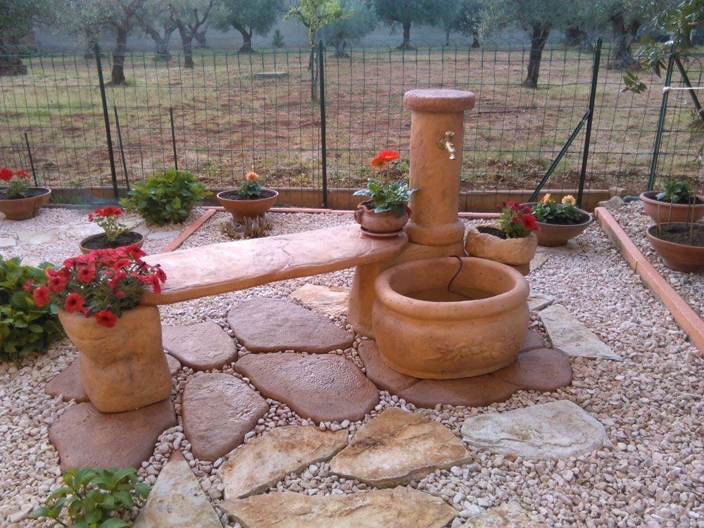 Fontana da giardino mod azalea con panchina modificata - Accessori per fontane da giardino ...