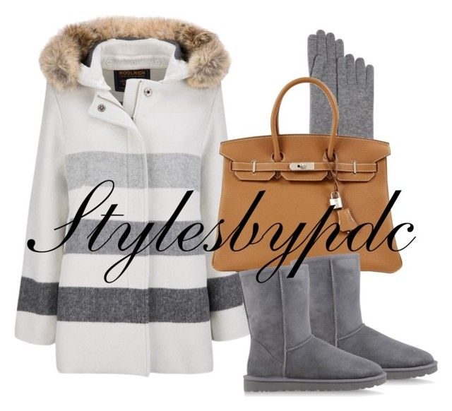 """Winter Gear !!!"" by stylesbypdc ❤ liked on Polyvore featuring C by Bloomingdale's, Woolrich, Hermès, UGG Australia, women's clothing, women, female, woman, misses and juniors"