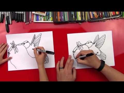 How To Draw A Hummingbird - Art for kids   Hummingbird art ...
