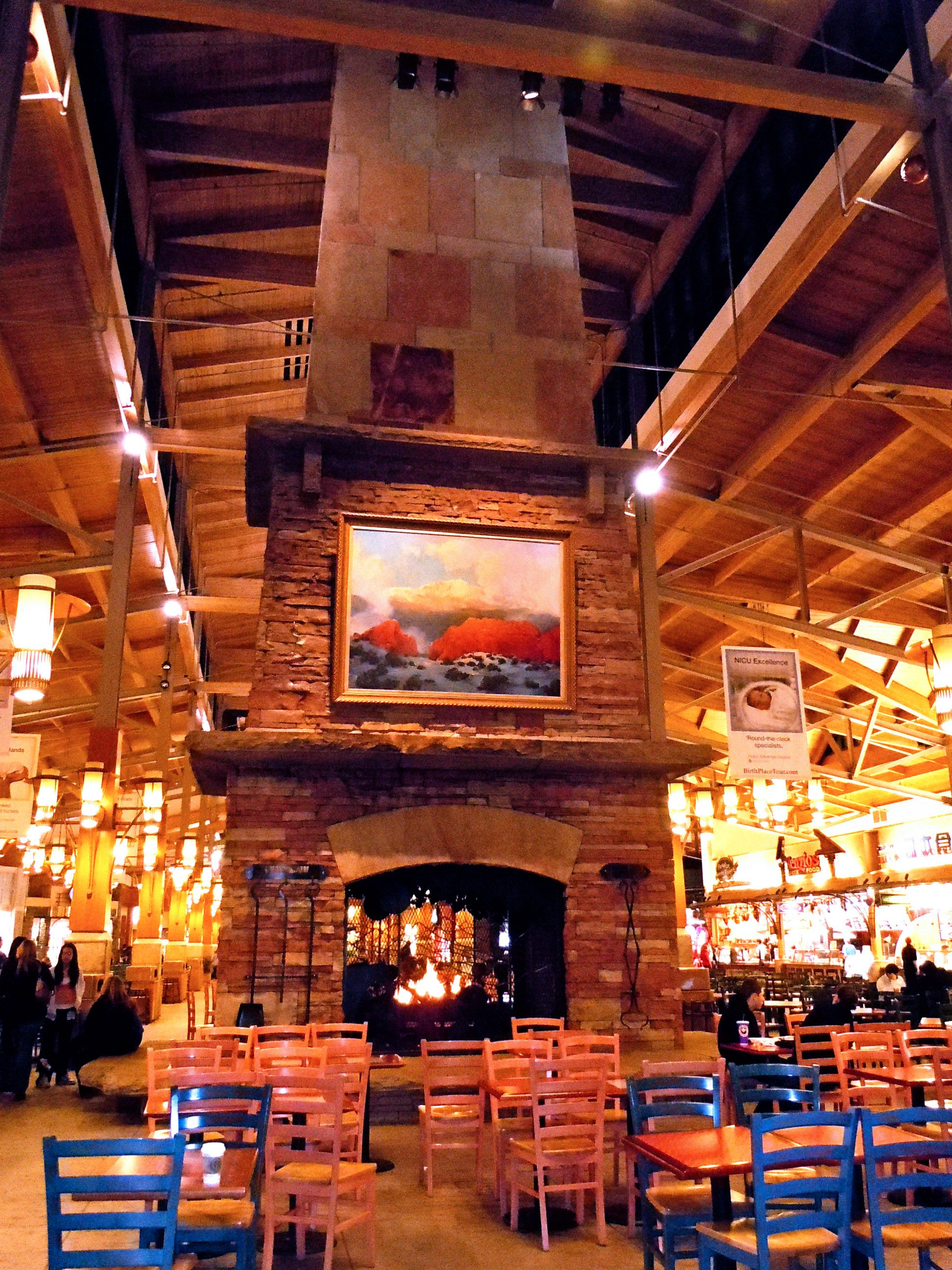 park meadows mall | The food court at the mall has a massive fireplace that I'd love in ...