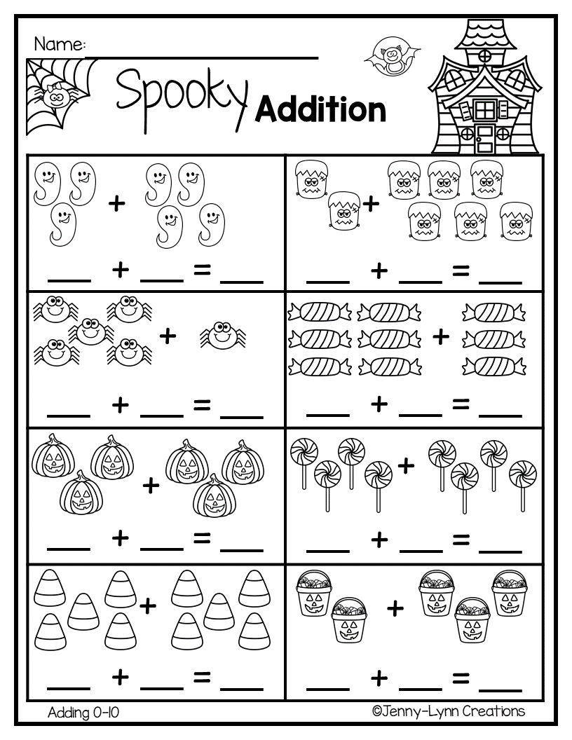 This Fun Halloween Addition Packet Will Have Your Students Enjoying Math It Contains A Variety Of Halloween Them Toplama Ve Cikarma 1 Sinif Matematik Ogrenme