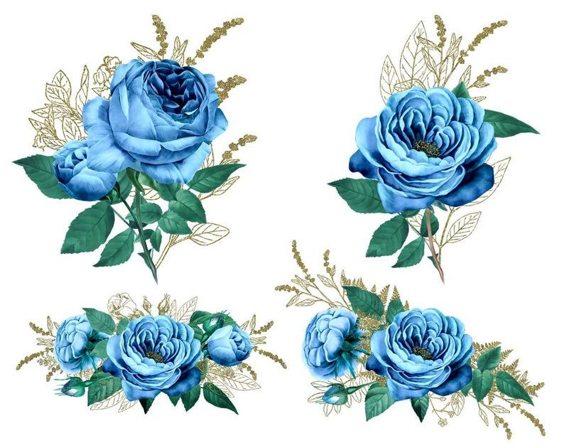 16 Png Blue Roses Bouquets With Gold Floral Elements Blue Etsy Blue Rose Bouquet Blue Roses Rose Bouquet