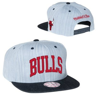 18824e741cd18 Mitchell   Ness Chicago  Bulls Striped Denim Arch Two-Tone Adjustable   Snapback Hat - Gray  27.95