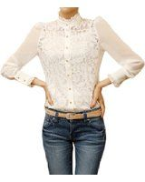 Zeagoo Women's Long Sleeve Sheer Lace Floral Chiffon Shirt