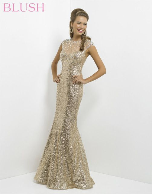 Fully beaded gold prom gown #prom - Blush 9768 | Gowns. | Pinterest ...