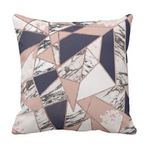 Geometric Navy Blue Peach Marble and Rose Gold Throw ...