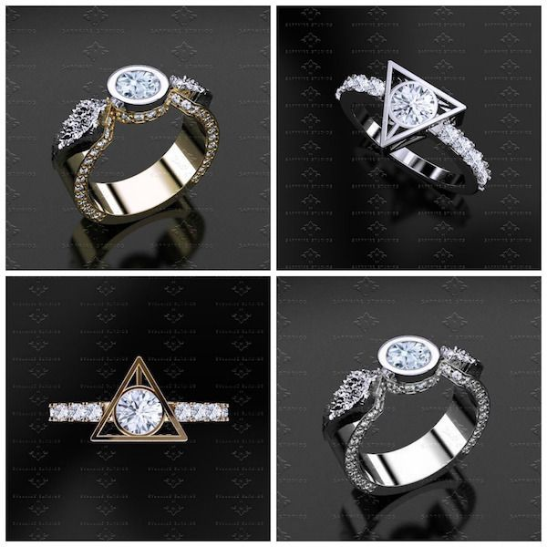 these harry potter engagement and wedding rings are magical - Harry Potter Wedding Rings