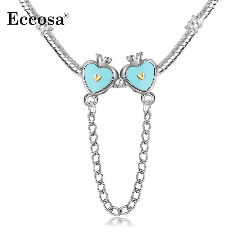 Eccosa silver plated blue princess crown heart safety