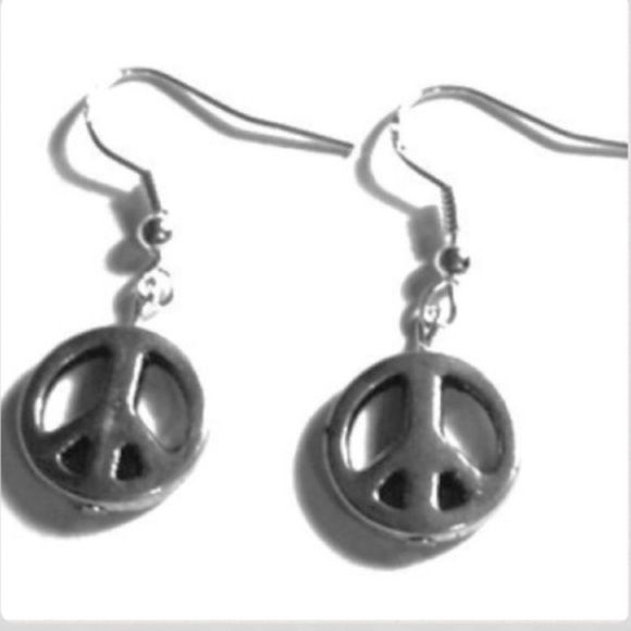 """Download Silver Peace Sign Earrings Sterling 1/2"""" long on sterling ..."""