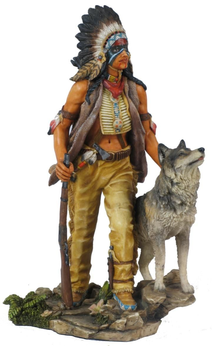 American Indian With Wolf Statue | Native american dolls