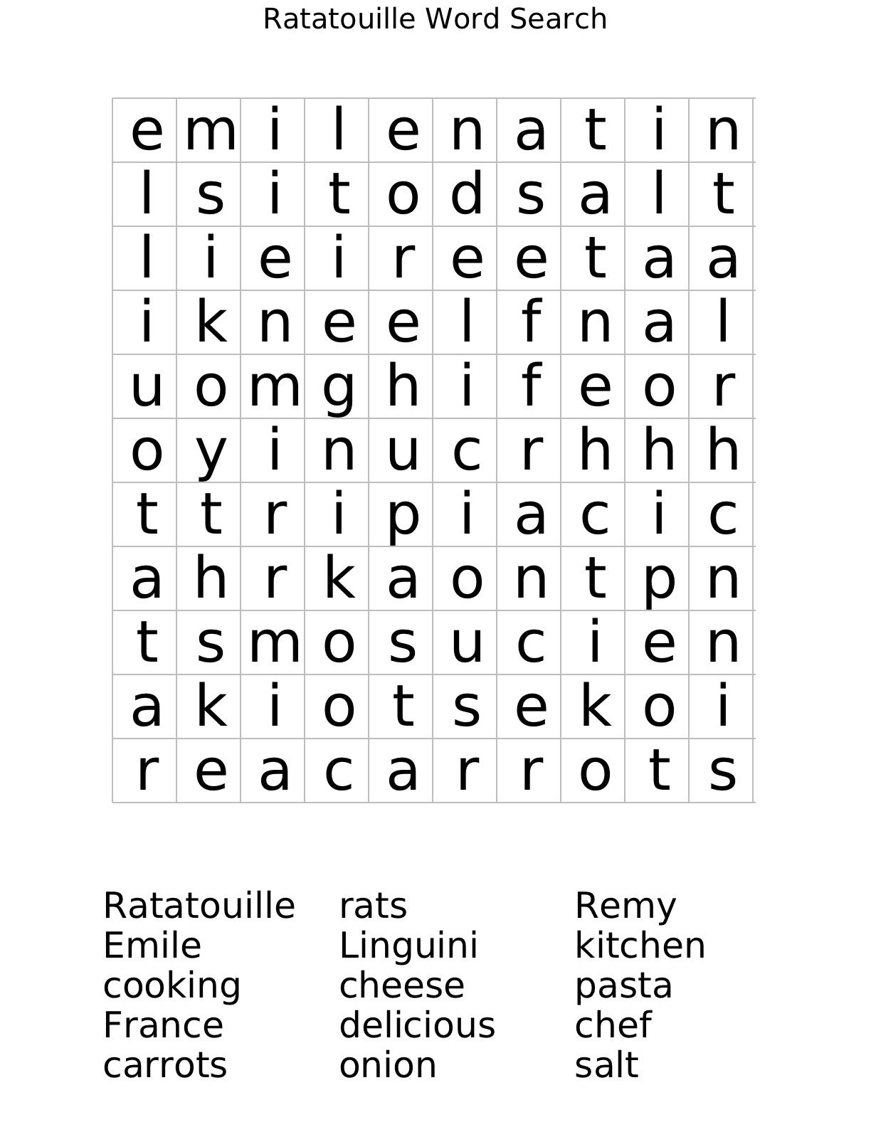 Ratatouille Word search worksheet – Free Printable Fun Math Worksheets