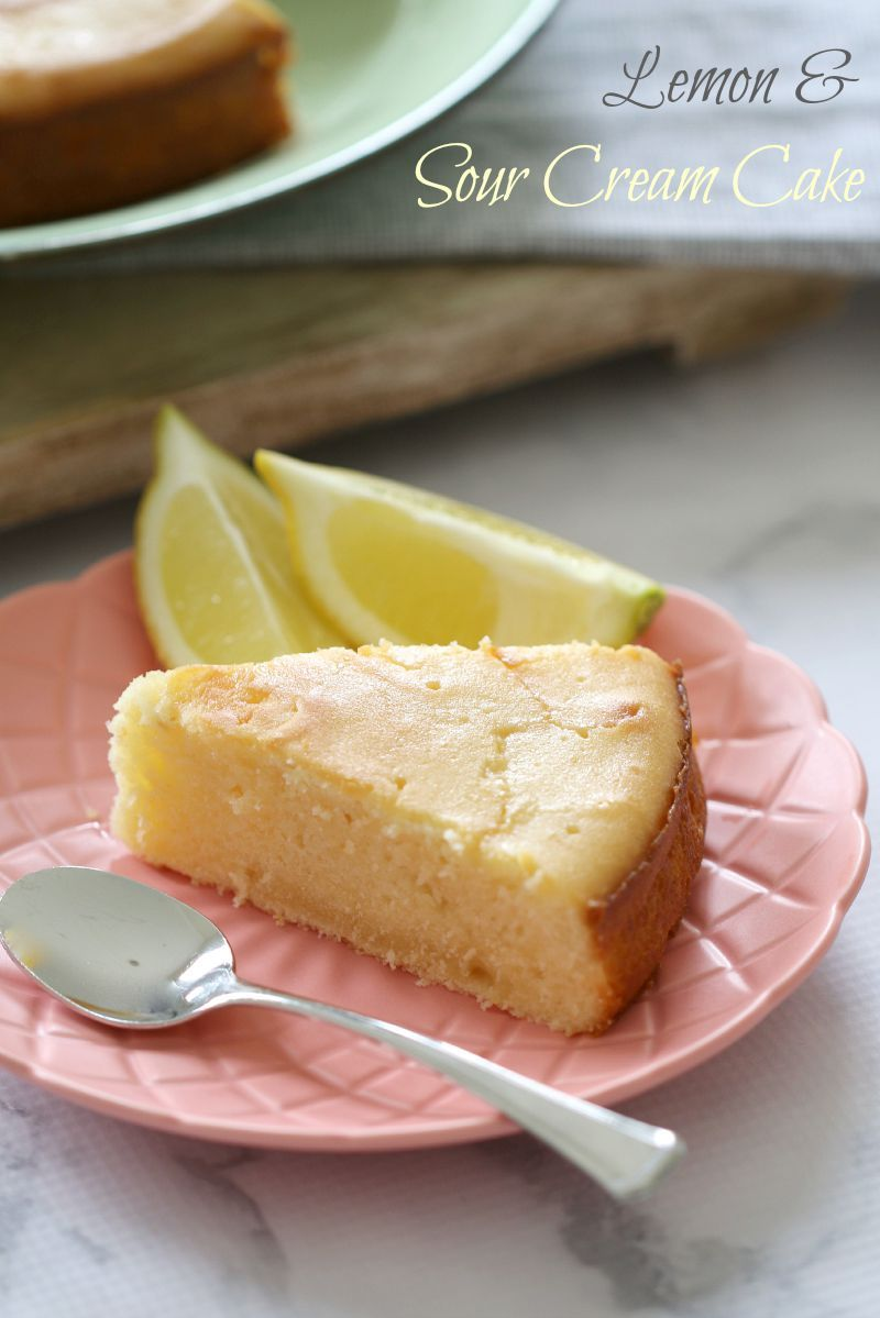 The most deliciously moist and tangy Sour Cream & Lemon Cake. Perfect served on it's own, or heated up with a dollop of cream. | Bake Play Smile