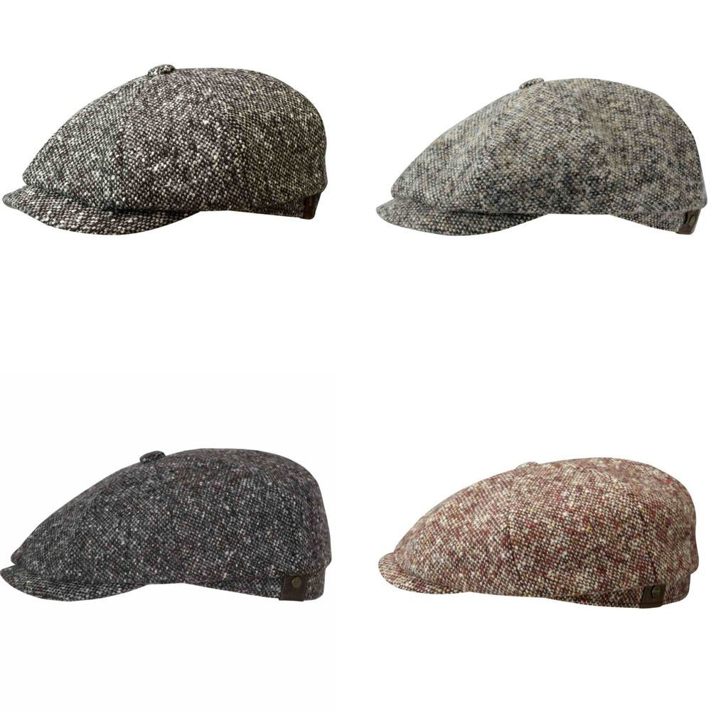 Stetson Cap Mütze Wool Hatteras Salz Pfeffer - Ballonmütze im Stil der  1920er 4f4d2b6af002