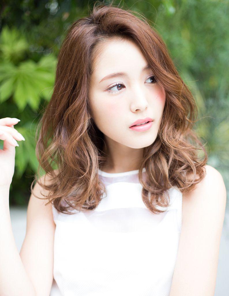 かきあげバング鎖骨ミディパーマ Hi 185 ヘアカタログ 髪型