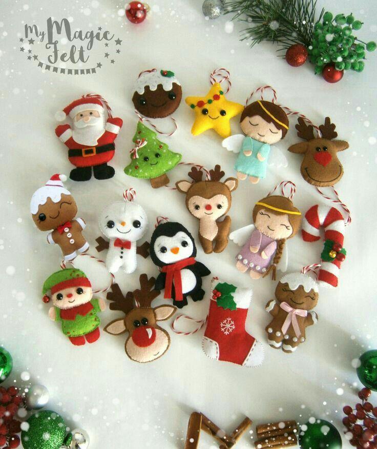 Felt Craft Ideas For Christmas Part - 22: Christmas Ornaments Felt SET Of 16 Ornament Christmas Felt Decor Big Set  Cute Christmas Tree Ornaments Reindeer Felt Gingerbread Santa
