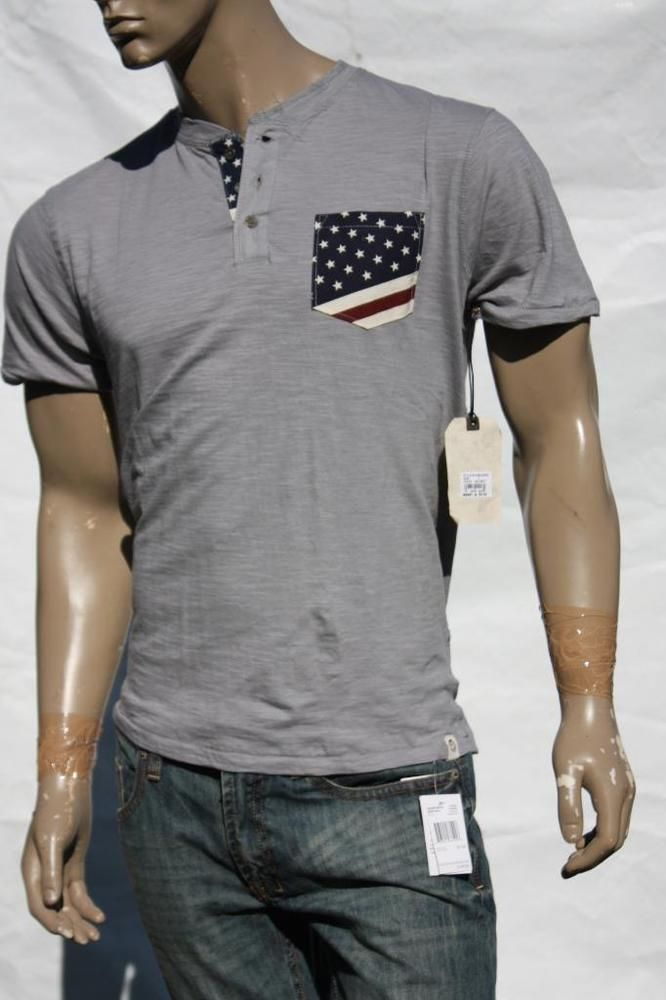 Men S Shirt Free Planet Grey Usa Flag Henley Shirts 4th Of July Nwt