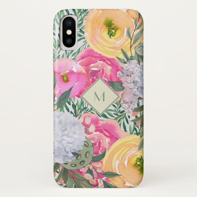 Watercolor Floral  Personalized iPhone case #personalize #arty #zazzlemade #floral #hydrangea#botanical #gifts #gardenstyle #flowers #vintage #floral