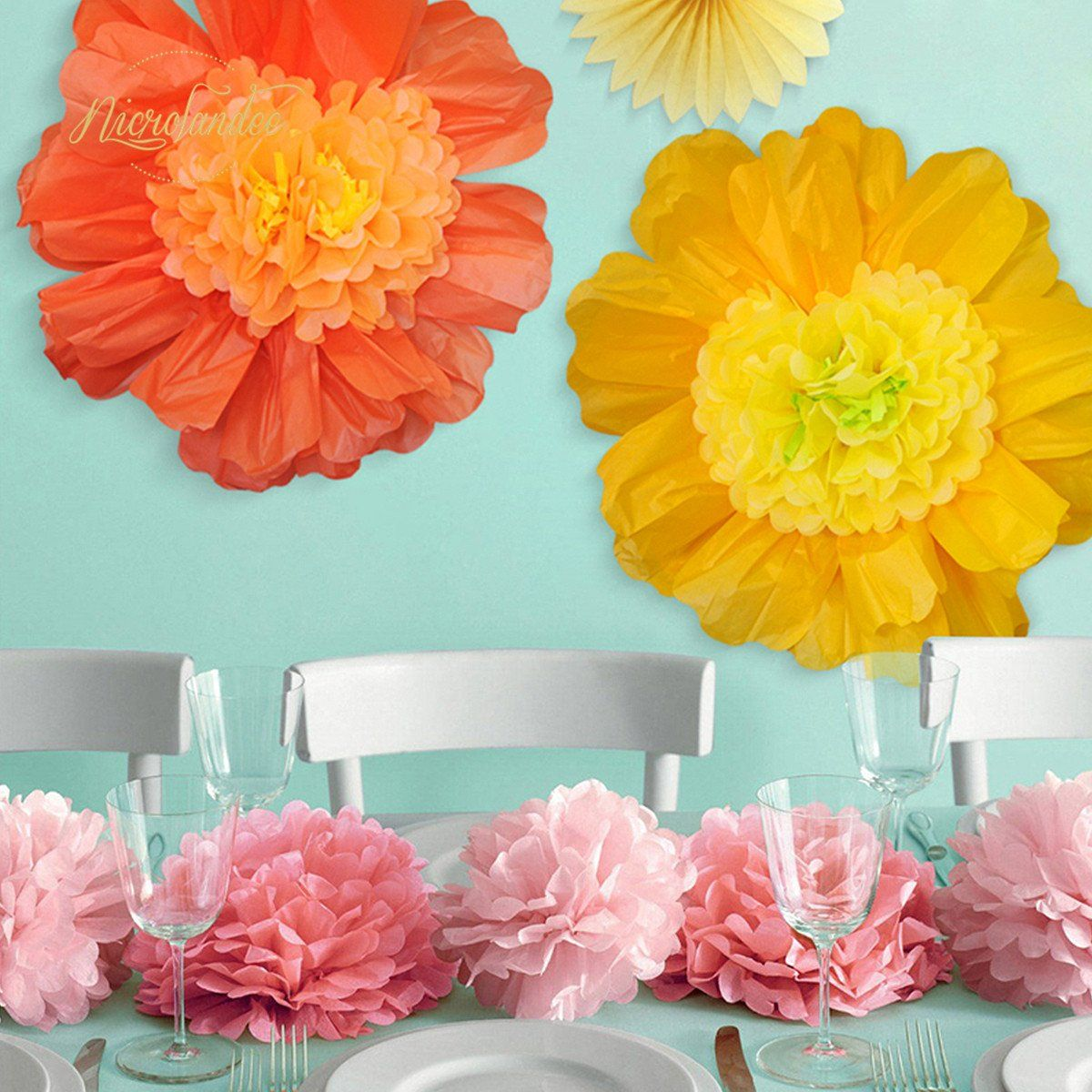 24/'/' 6 Pack//Set LARGE Tissue Paper Flowers Handcrafted Giant For Mexican Wedding