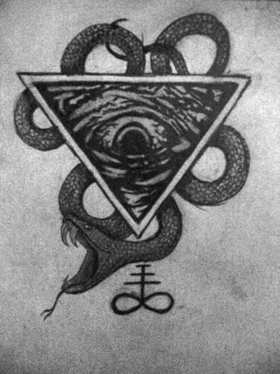 Upside Down Eye Of Providence Snake And Alchemical Symbol
