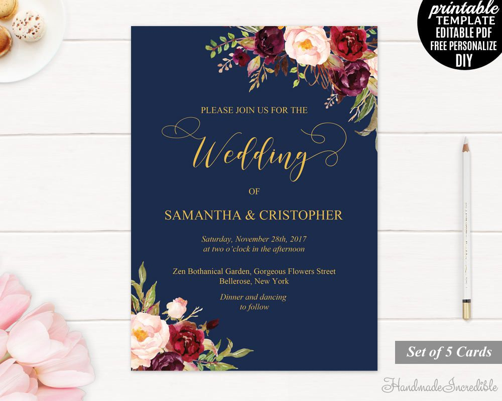 Navy and Gold Wedding Invitation. Marsala and Gold Wedding ...