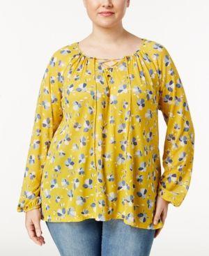 53f5de3fad355 Style   Co Plus Size Floral-Print Peasant Top