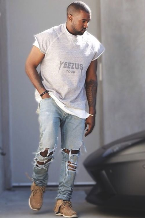 Kanye West Wearing Grey Print Crew Neck T Shirt Light Blue Ripped Jeans Tan Athletic Shoes Kanye West Style Mens Street Style Mens Outfits