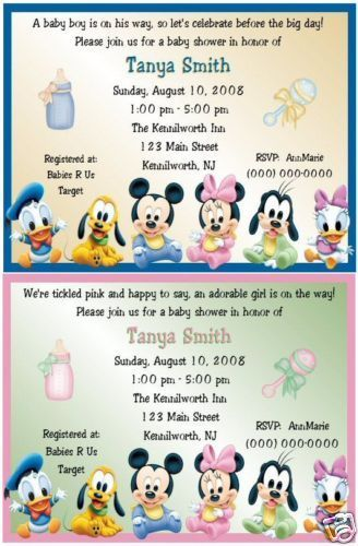 MICKEY AND MINNIE BABY SHOWER THEME | Disney Baby Shower Invitations Mickey  Minnie Mouse