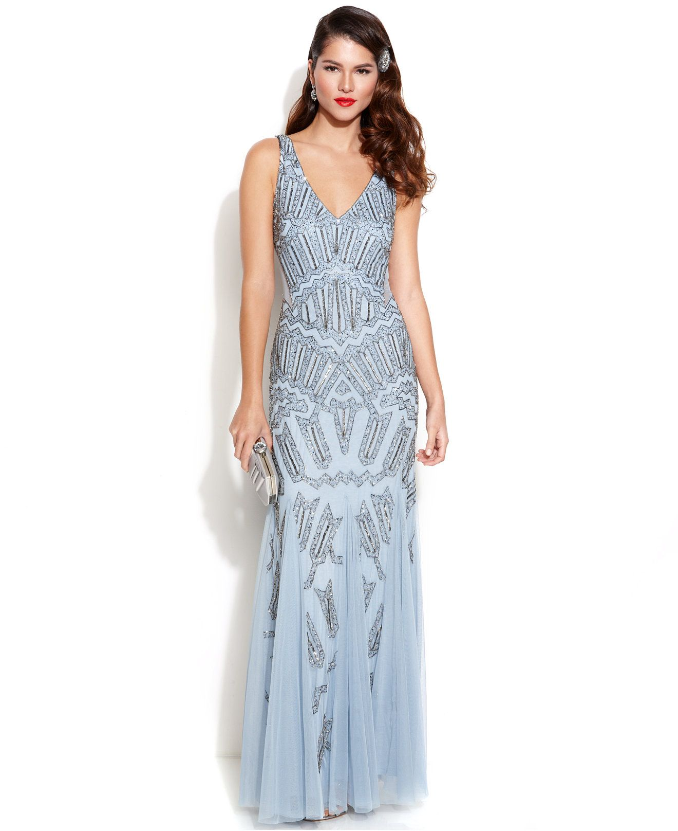 Vintage Women Simple Chiffon Backless Cheap Mermaid: This Dramatic Art Deco-inspired Adrianna Papell Gown Is