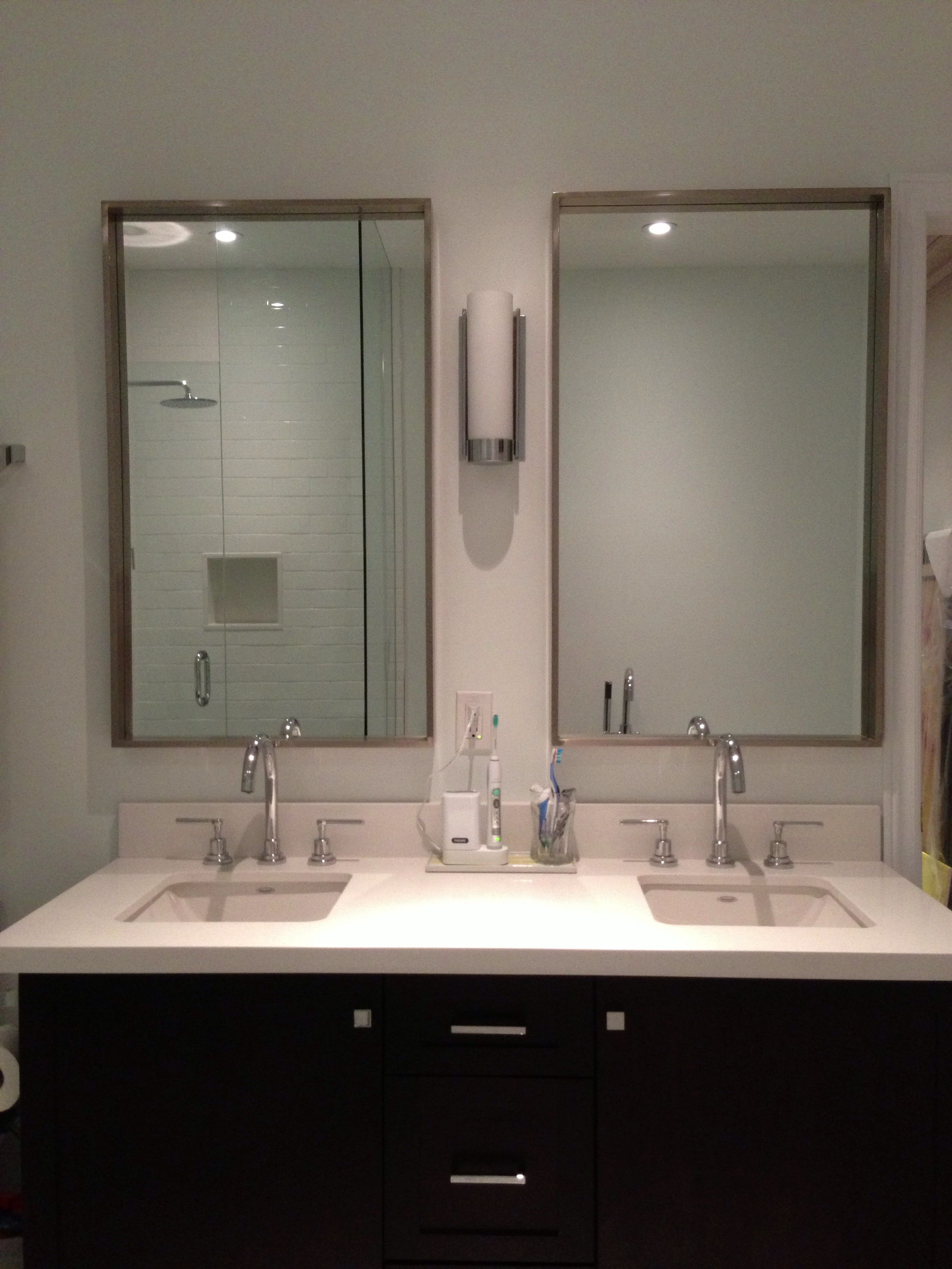 Build a double vanity. Our space was only 54 inches wide ...