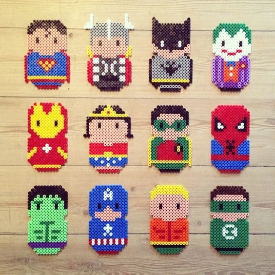facile r aliser en perles repasser des super h ros diy hama marvel perler bead ideas. Black Bedroom Furniture Sets. Home Design Ideas