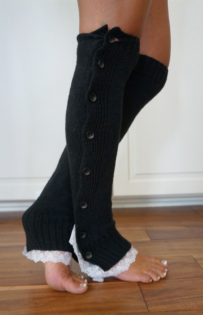 CLOSEOUT! NOW ONLY $8.99! Boot Cozies™ Legwarmers - Our favorite lace and button leg warmers in black. This is such a staple in your wardrobe, you'd be amazed how it finishes an outfit when paired with boots and a pair of leggings or jeans!