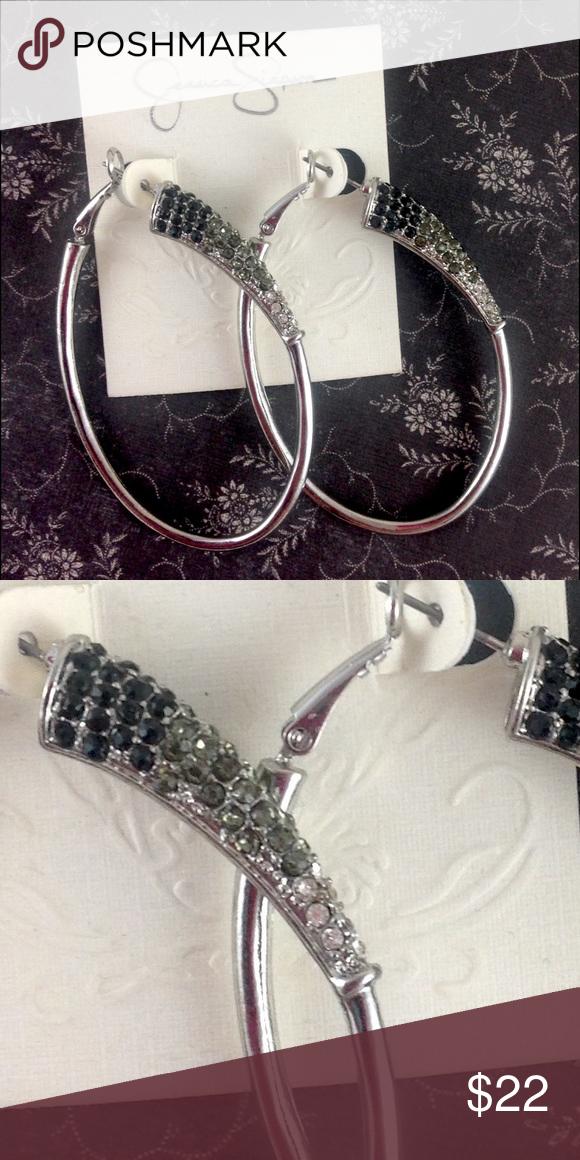 Jessica Simpson Ombré Crystal Oval Hoop Earrings Brand new