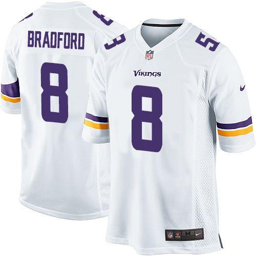 5b52fc7d3 Men s Nike Minnesota Vikings  8 Sam Bradford Game White NFL Jersey https
