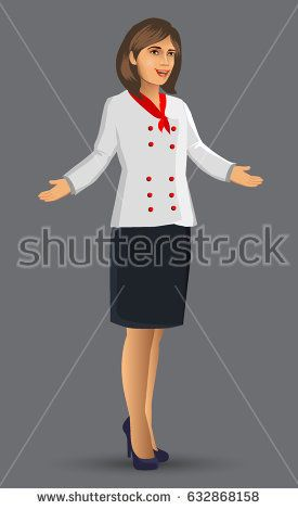 Chef woman illustration, cartoon figure of woman chef presented a menu and food, design elements for your brochure, banner and web.