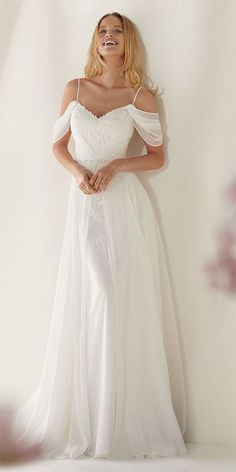 Awesome White Chiffon Lace Appliques Wedding Dress,Off Shoulder Spaghetti Straps Sheath Brida…