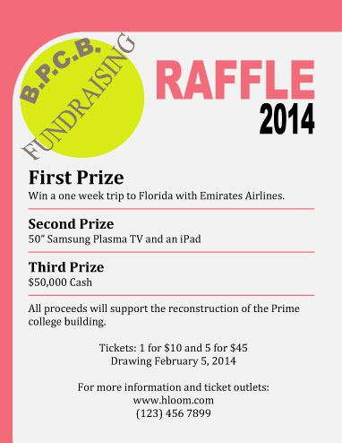 Fundraising Raffle Flyer Template with 3 prizes Flyers - admission ticket template free download