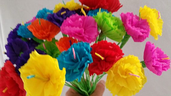 10 crepe paper flowers day of the dead dia de los muertos each 10 crepe paper flowers day of the dead dia de los muertos each flower measures approximately 2 inches across on 8 inch stems colors you will re mightylinksfo