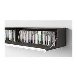 IKEA   BESTÅ BURS, Wall Shelf, High Gloss Gray, , Holds 118 DVDs